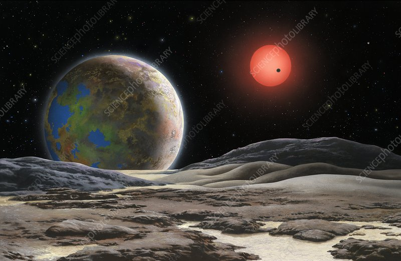 Gliese 581 c planet and star, artwork