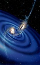 Colliding galaxies and gravity waves