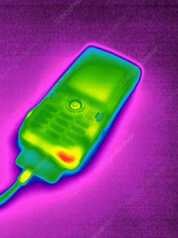Mobile phone on charge, thermogram