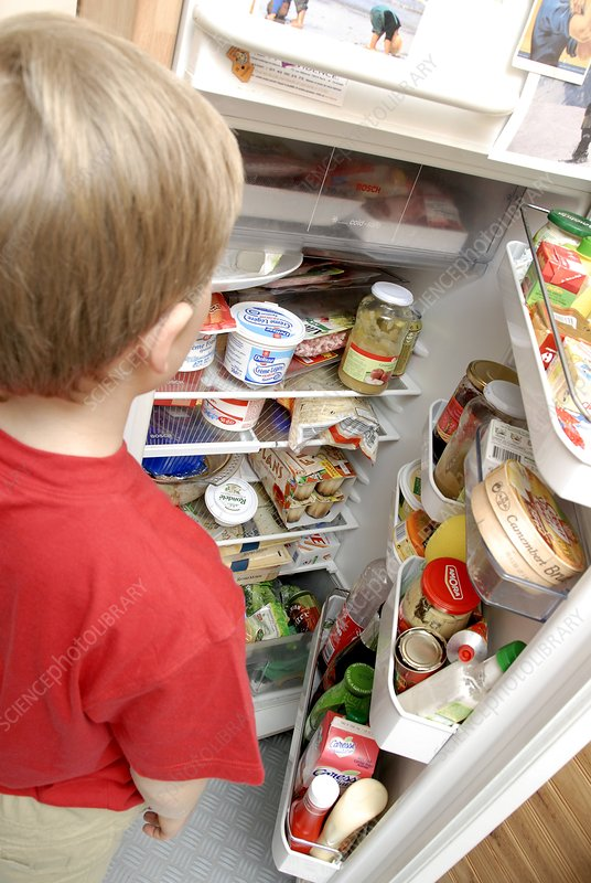 Boy looking in fridge