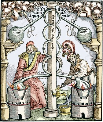 Distillation, 16th century woodcut