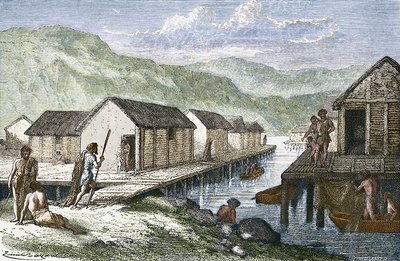 Bronze Age village, 19th century artwork