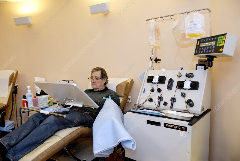Man donating blood platelets