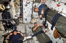Space Shuttle astronauts sleeping