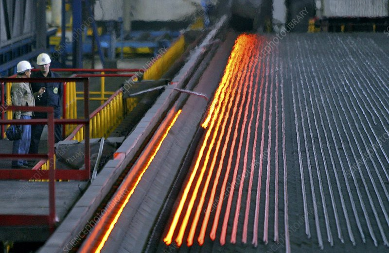 Bar-rolling mill processing molten metal