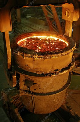 Molten metal in a vat