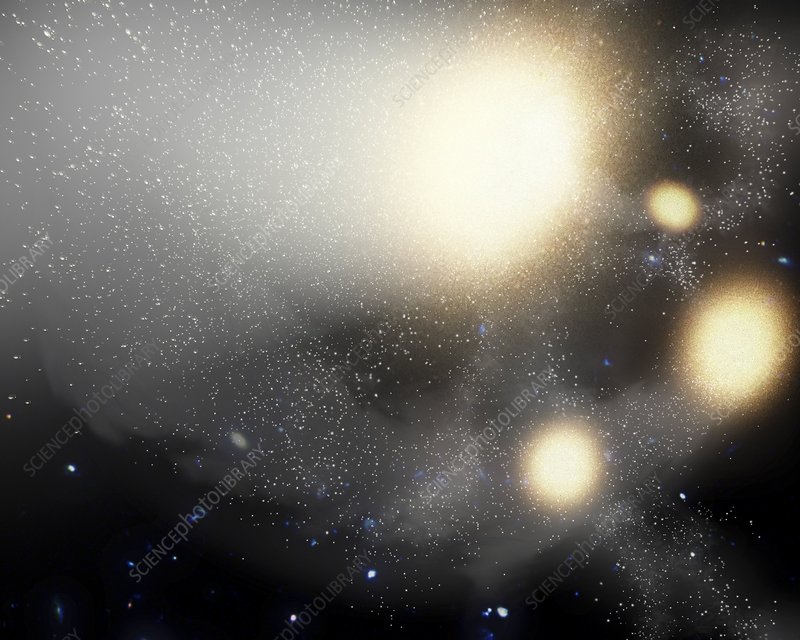 Galactic collision in night sky, artwork
