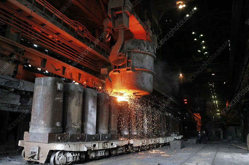 Molten metal being poured into vats