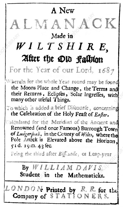 Title page for 17th century almanac