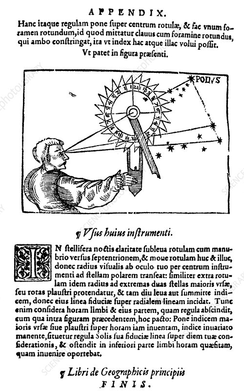 Apianus writing about the Pole Star, 1564
