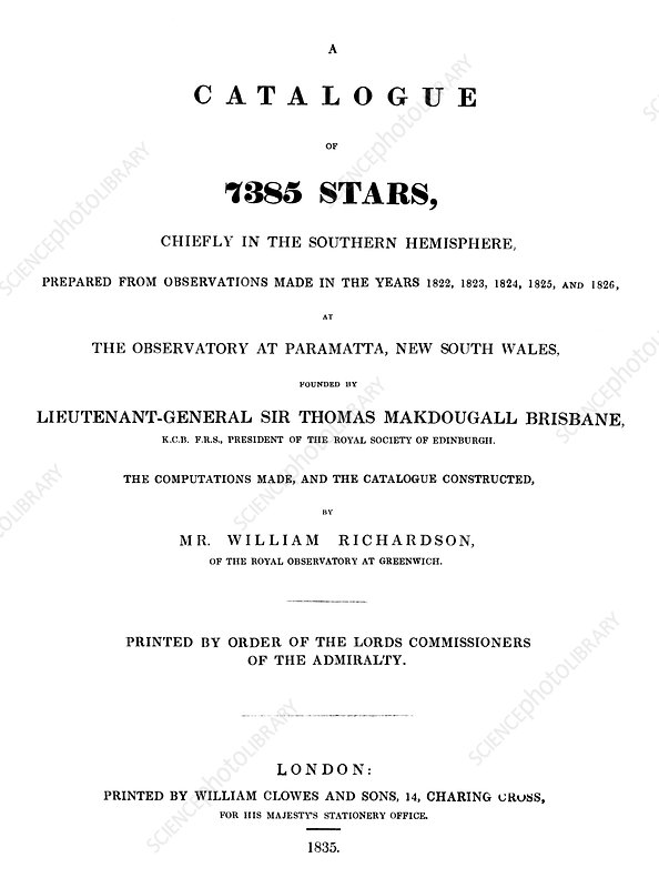 Richardson's star catalogue, 1835