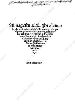 Ptolemy's Almagest, 1515 edition
