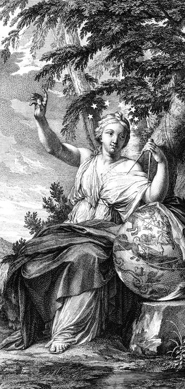 Engraving of Urania, muse of astronomy