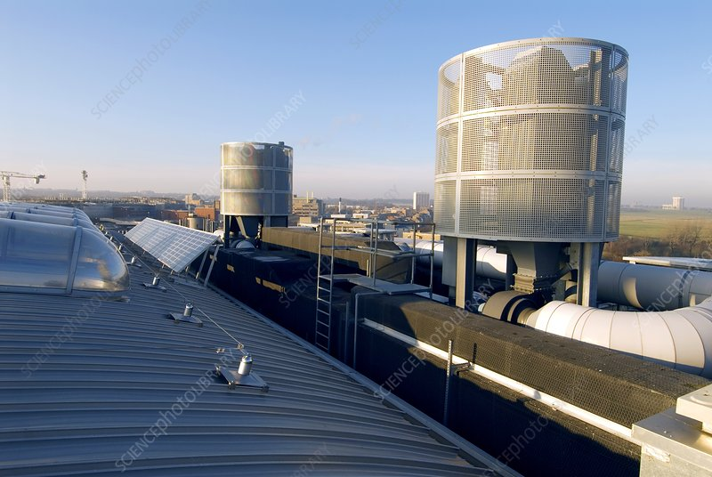 Solar panels and ventilation ducts