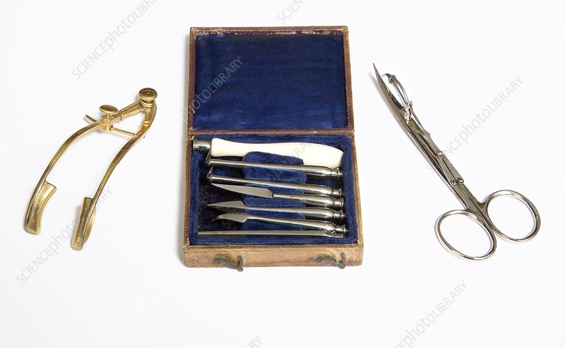 Historical skin graft instruments