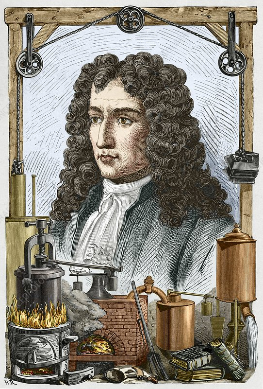 Engraving of Denis Papin, French inventor
