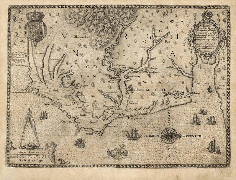 Us Colony Of Virginia 1590 Map Stock Image C001 3535 Science