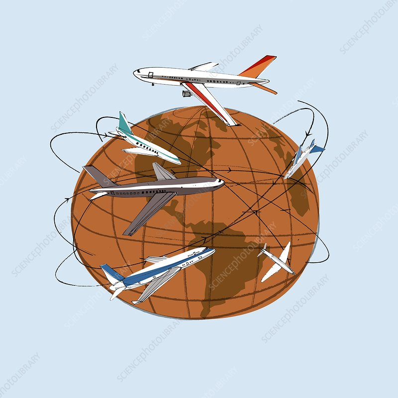 Global air travel, conceptual artwork