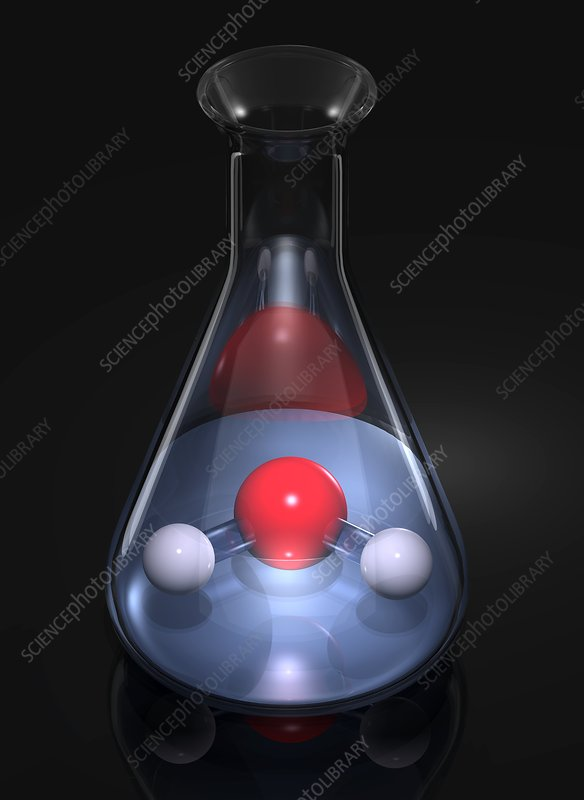 Water molecule in a flask, artwork