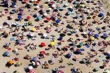 Crowded beach, Nazare, Portugal