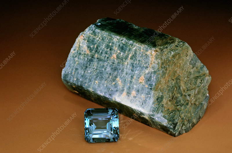 Aquamarine Rough and Gemstone