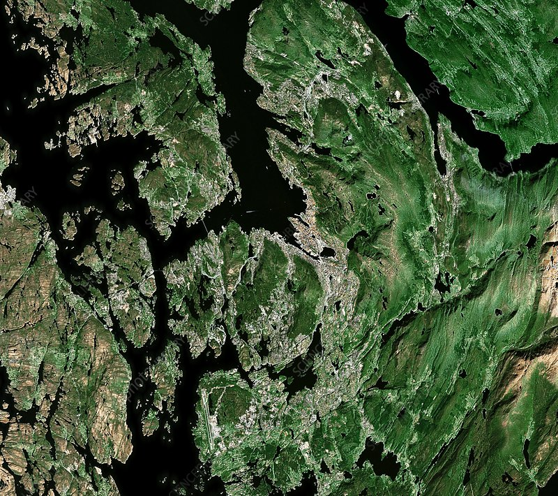 Bergen, satellite image