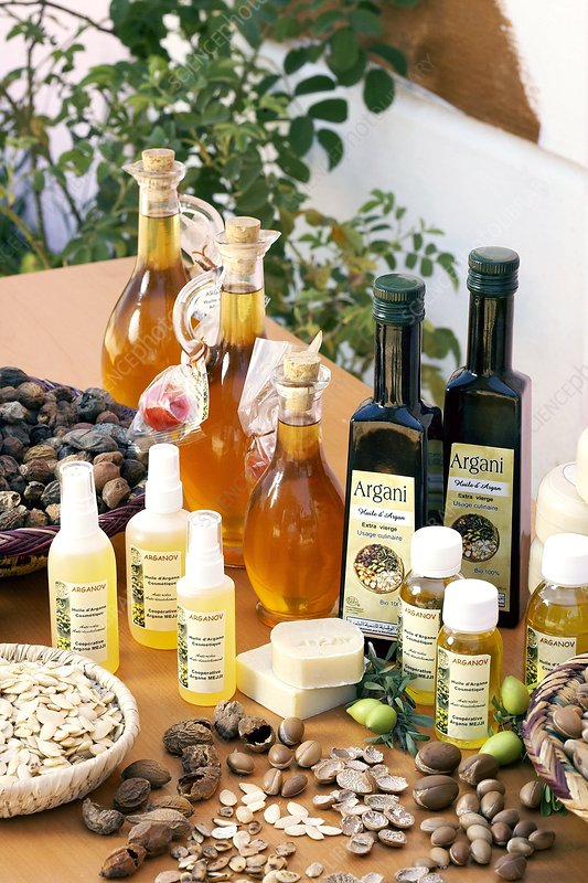 Bottles of argan oil