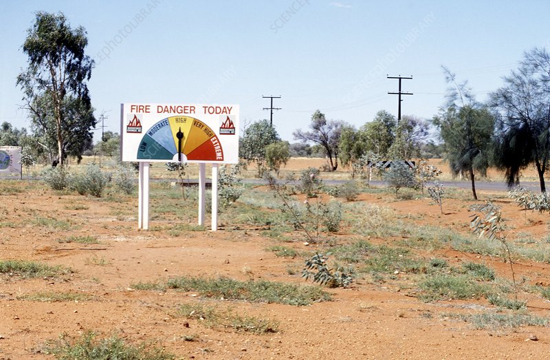 Fire hazard warning sign, Australia