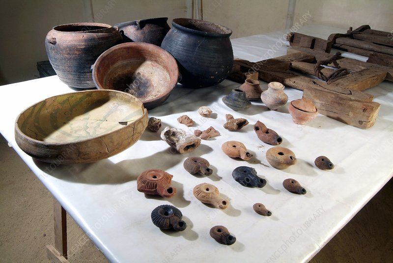Excavated clay artefacts, Egypt