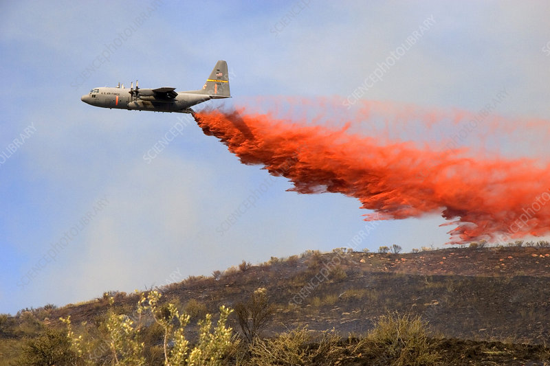 C-130 Aircraft Dropping Fire Retardant