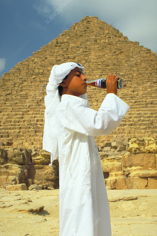 Egyptian boy at the Great Pyramid of Myce