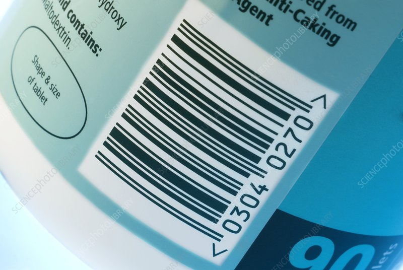Barcode on a container