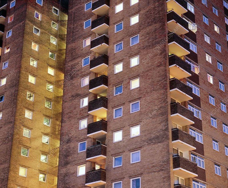 High-rise flats at night