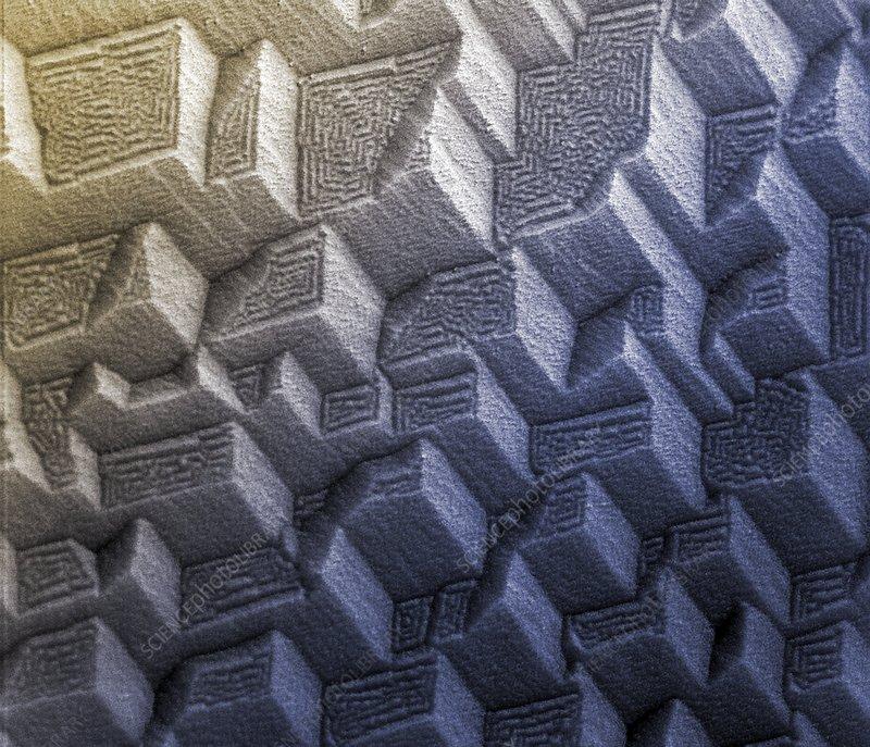 Titanium crystals, SEM