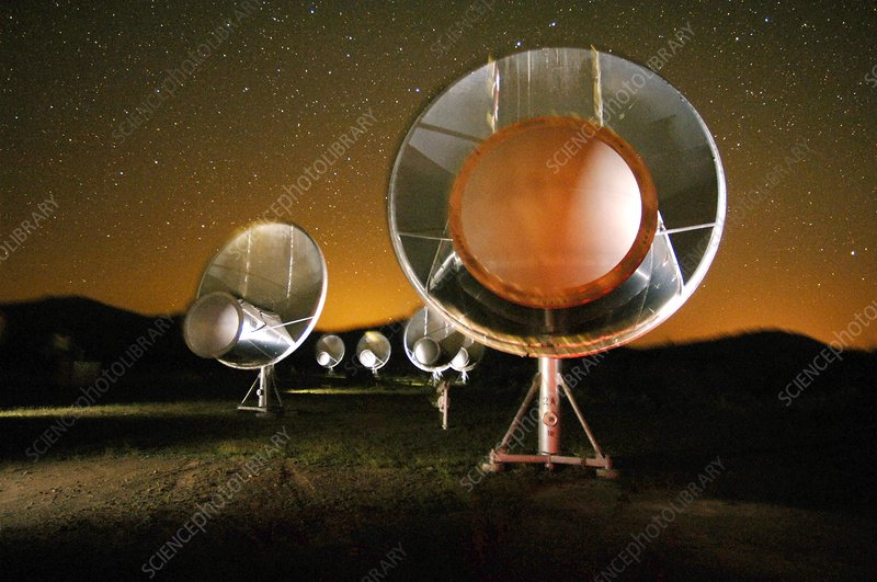Allen Telescope Array at night, artwork