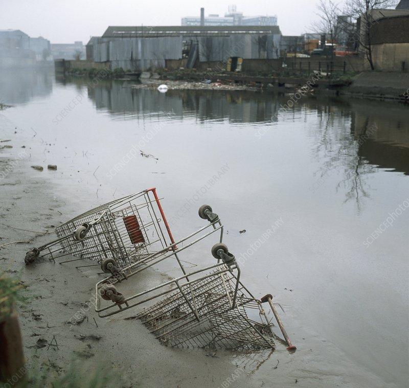 Dumped shopping trolleys