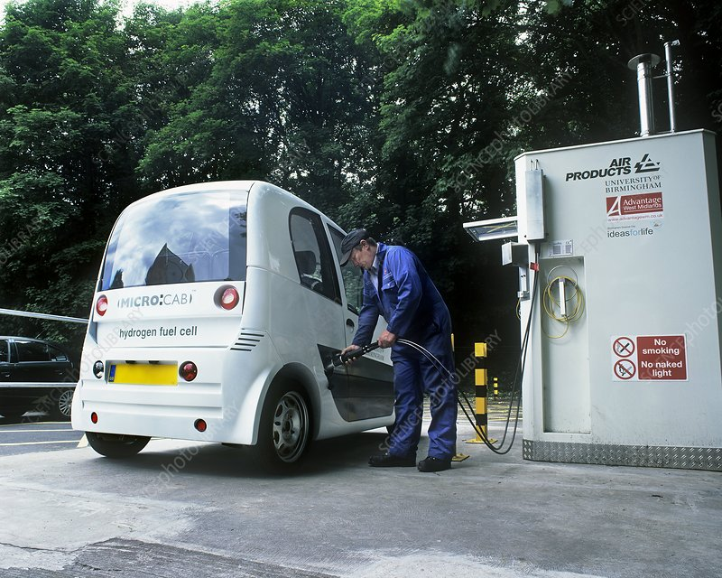 Hydrogen fuel cell car refuelling