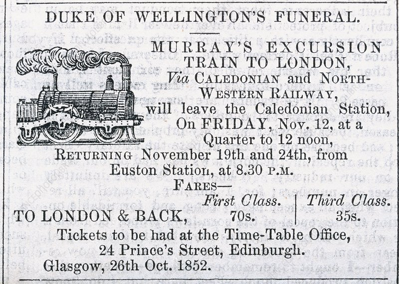 Advert for Wellington's funeral, 1852