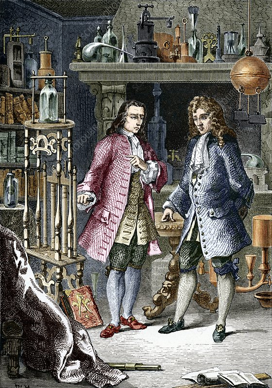 Denis Papin and Robert Boyle, engraving