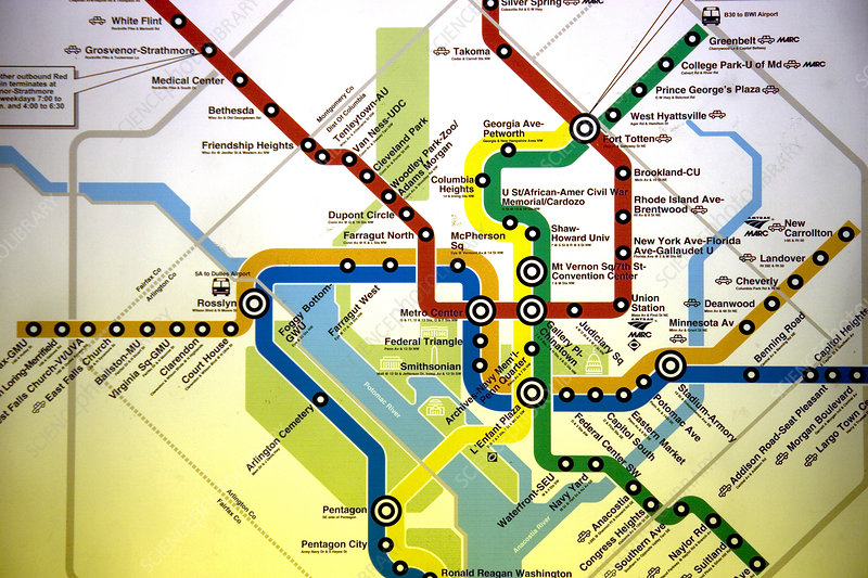 Map of Washington D.C. Metrorail system