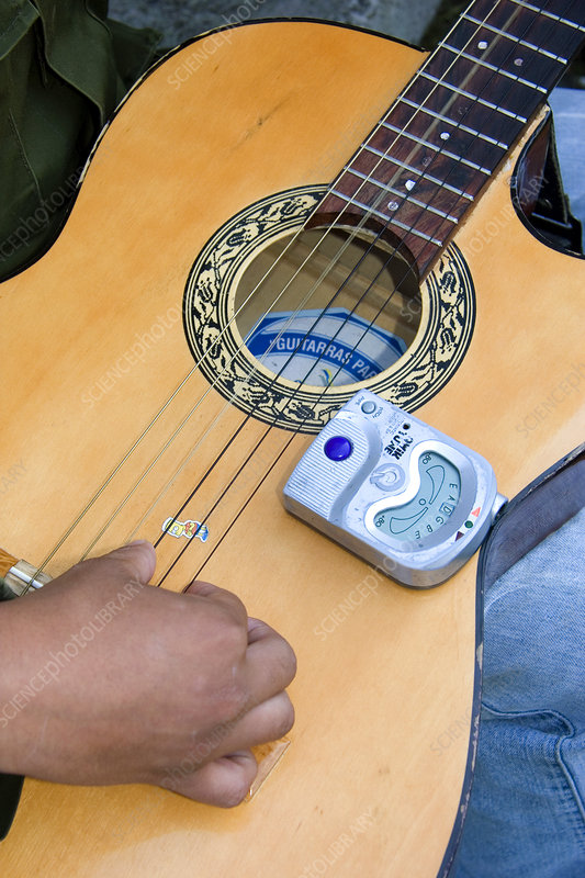 Electric Tuner on Acoustic Guitar