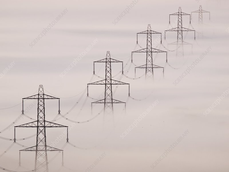 National Grid pylons in the mist