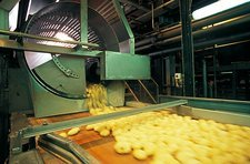 Frozen chip factory, washing and peeling