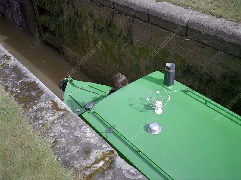 Narrowboat in a lock