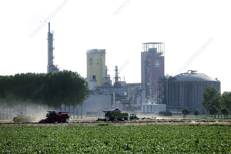 Agriculture next to an industrial plant