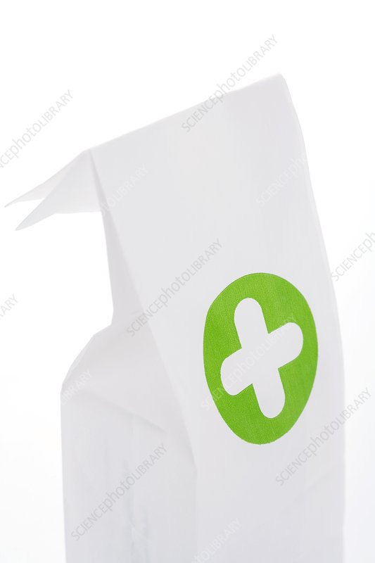 Pharmacy bag against white background