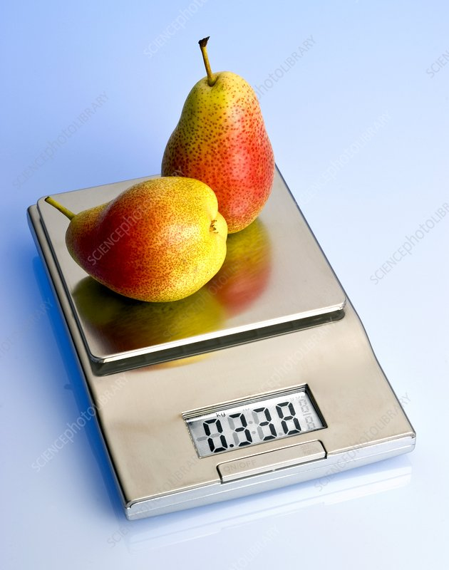 Pears on a digital scales