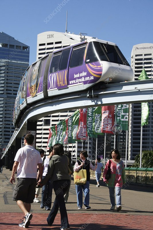 People and Monorail at Pyrmont Bridge
