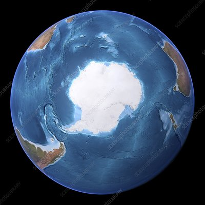 Antarctica, topographic map