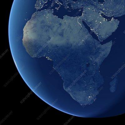 Africa at night, satellite image